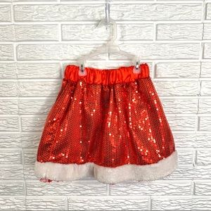 5/$25 Icing Red Sequined Santa Christmas Skirt